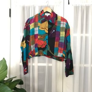 Silkscapes Multi-color Button Down Cropped Shirt